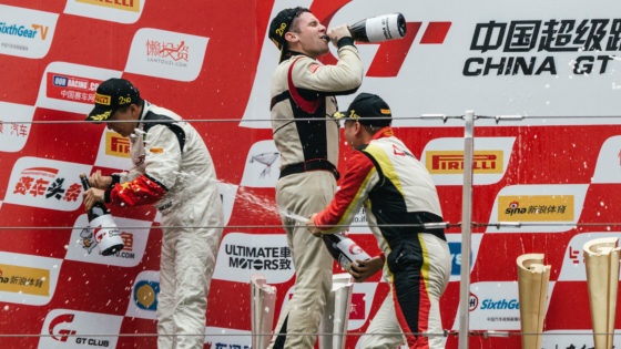 Jono Lester celebrates on the China GT podium