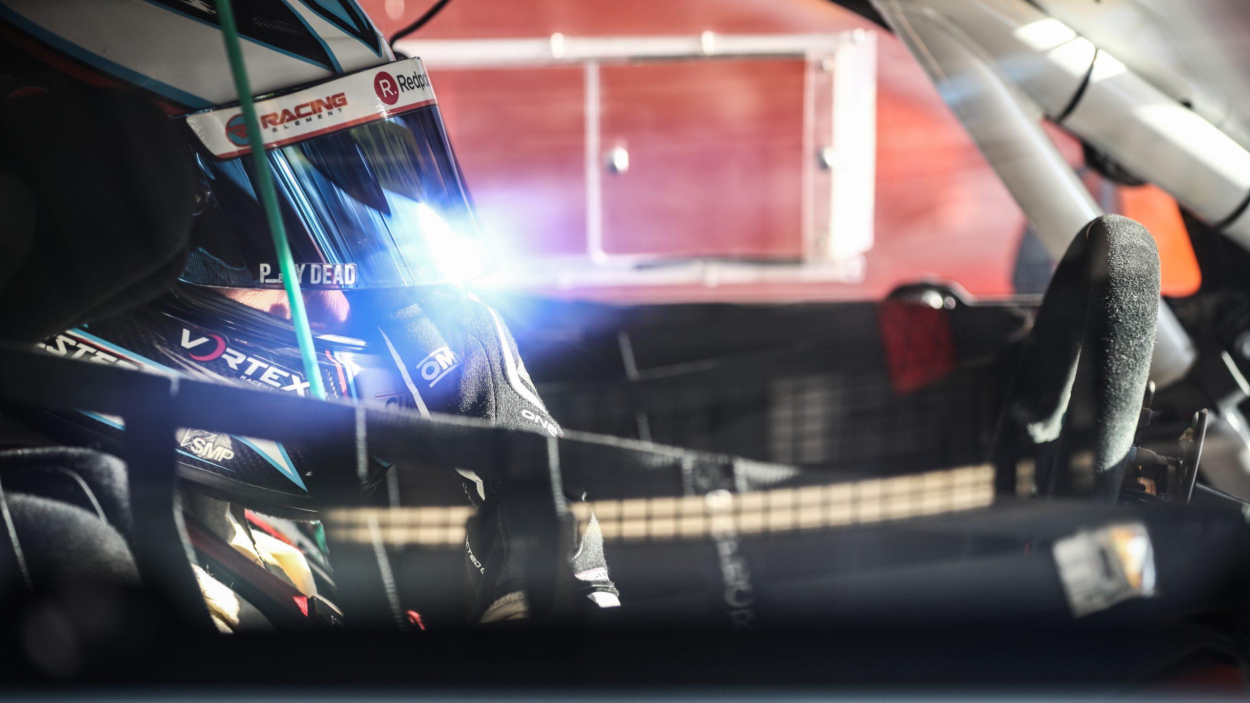 Jono Lester inside the Gulf Racing Porsche