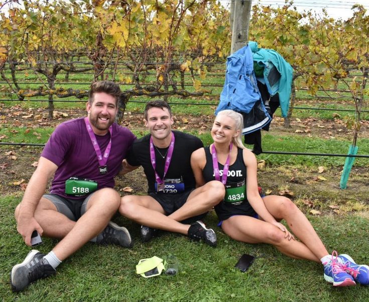Jono Lester with friends at the Hawke's Bay Marathon
