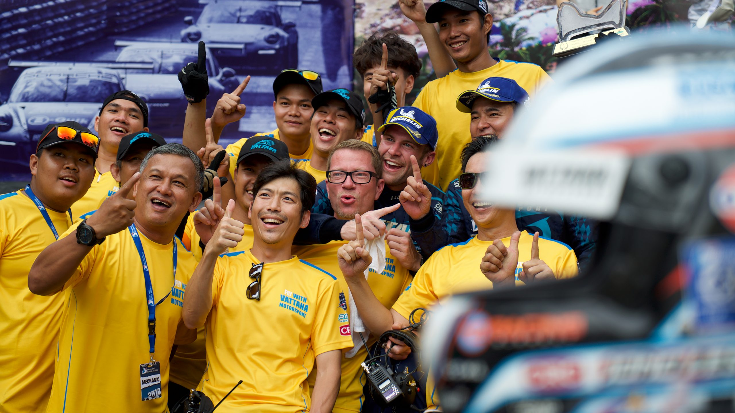 Jono Lester celebrates with the Vattana Motorsport team