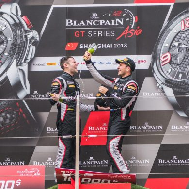 Jono Lester and Nick Foster on the Blancpain GT podium